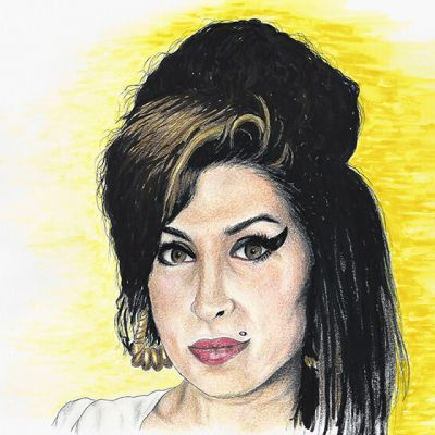 Amy Winehouse colour ink and pencil portrait
