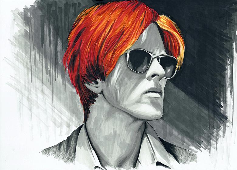 David Bowie colour ink portrait
