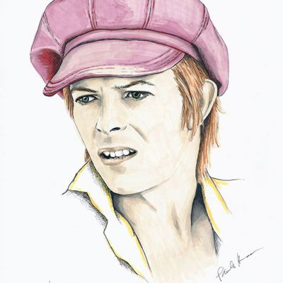 David Bowie colour ink portrait