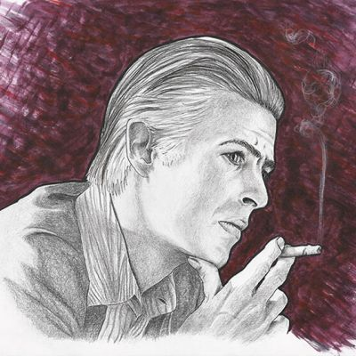 David Bowie ink and pencil portrait