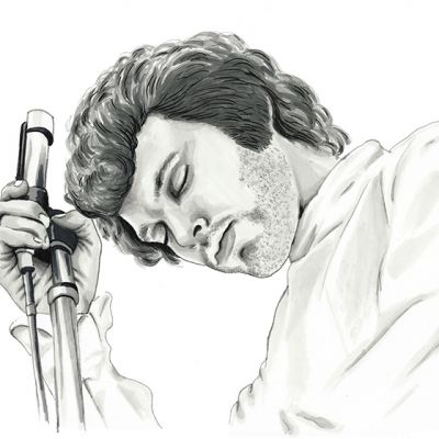 Jim Morrison of the Doors greyscale ink portrait