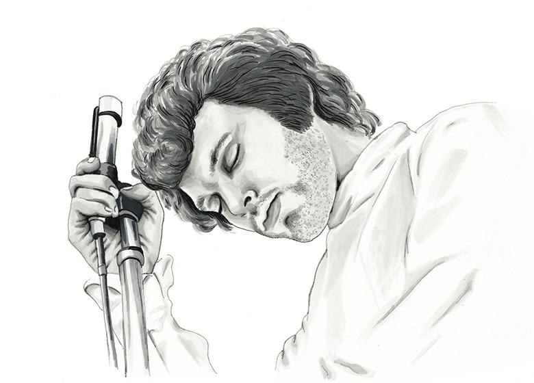 Jim Morrison of the Doors greyscale ink portrait