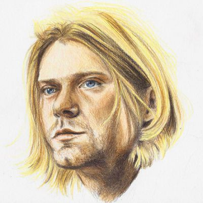 Kurt Cobain colour pencil portrait