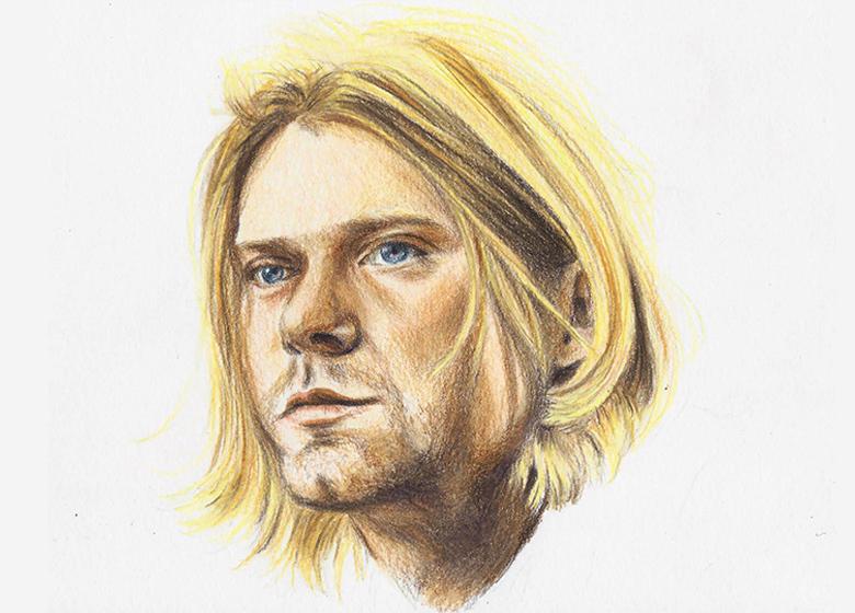 Kurt Cobain colour pencil portrait
