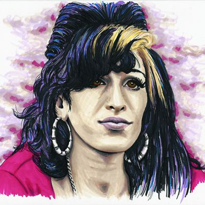 Colour ink portrait of Amy Winehouse