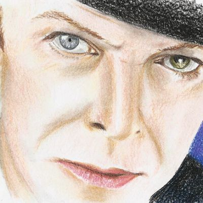 David Bowie coloured pastel pencil portrait