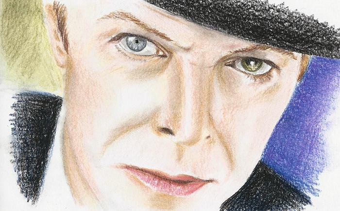 David Bowie coloured pastel pencil portrait