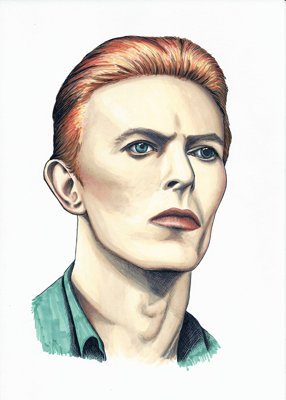 Colour ink portrait of David Bowie