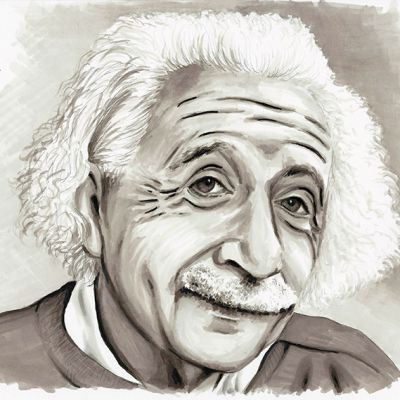 Ink portrait of Albert Einstein
