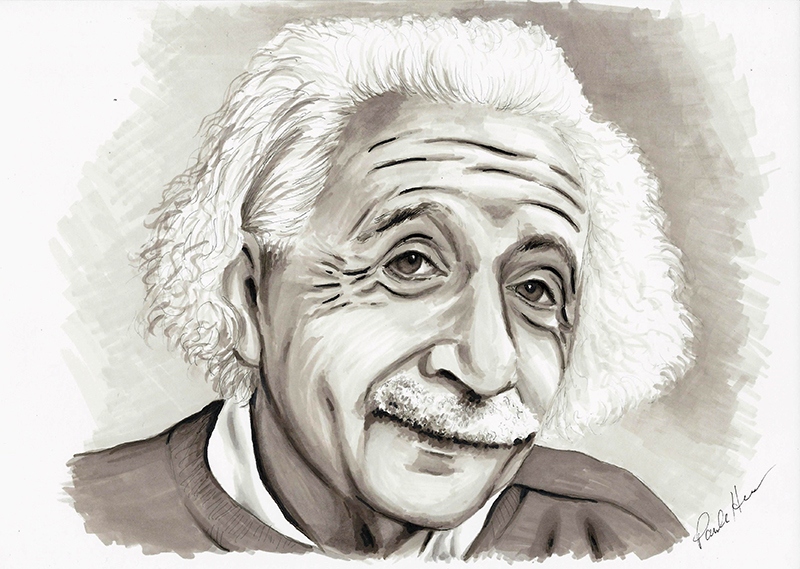 Ink portrait of Albert Einstein