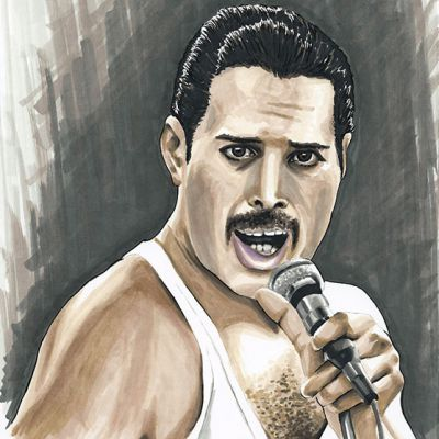 Freddie Mercury colour ink portrait