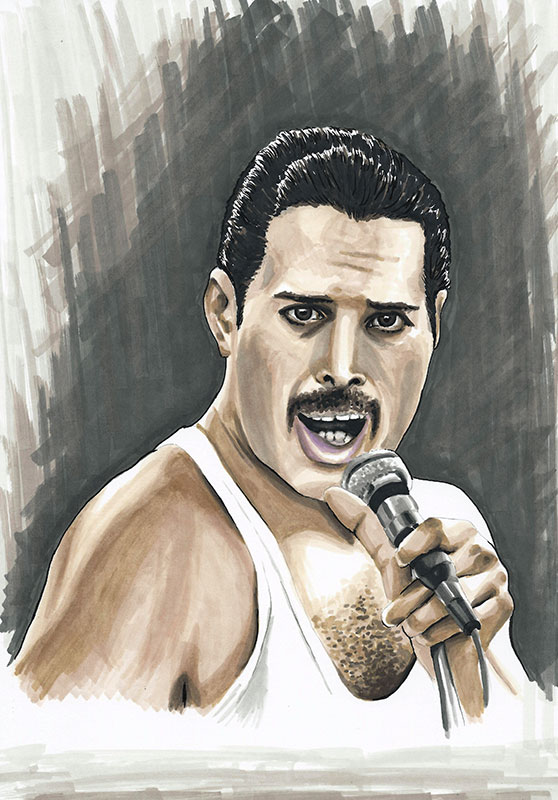 Freddie Mercury colour ink portrait