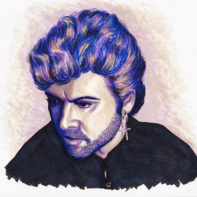 George Michael colour ink portrait