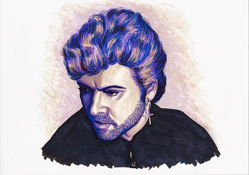 George Michael colour ink portrait
