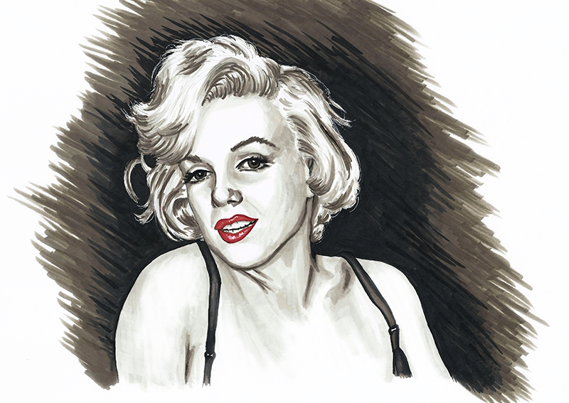 Marilyn Monroe colour ink portrait