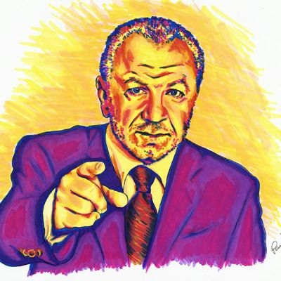 Lord Sugar colour ink portrait