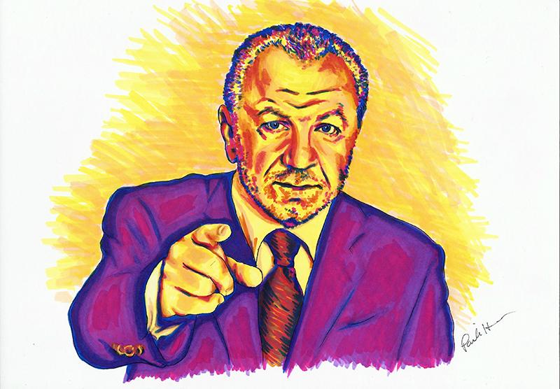 Lord Sugar colour ink portrait