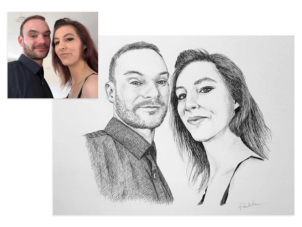 Ink portrait of a couple