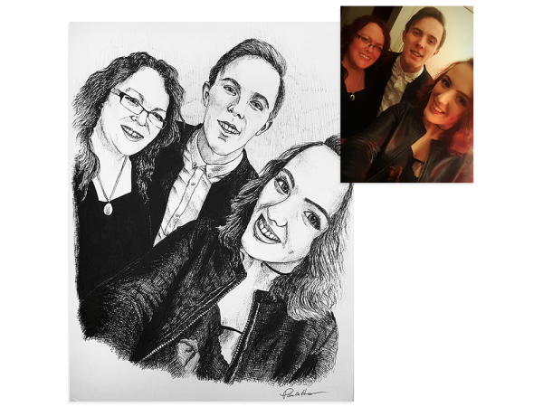 Family selfie ink portrait