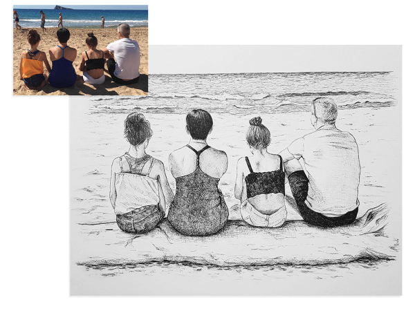 Ink drawing of family at the beach