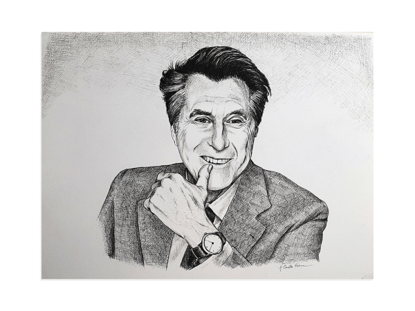 Ink portrait of Bryan Ferry