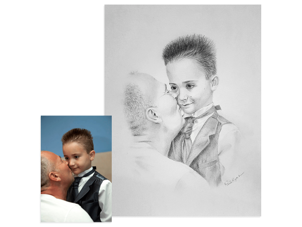 Father and son pencil portrait
