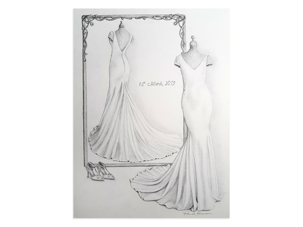 Wedding dress pencil drawing