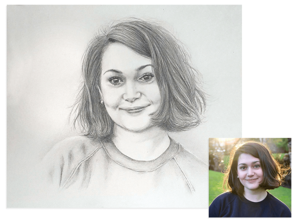 Pretty girl pencil portrait