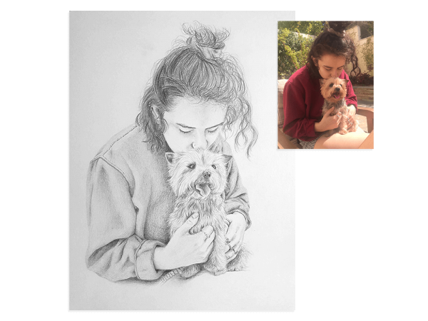 Girl with puppy pencil portrait