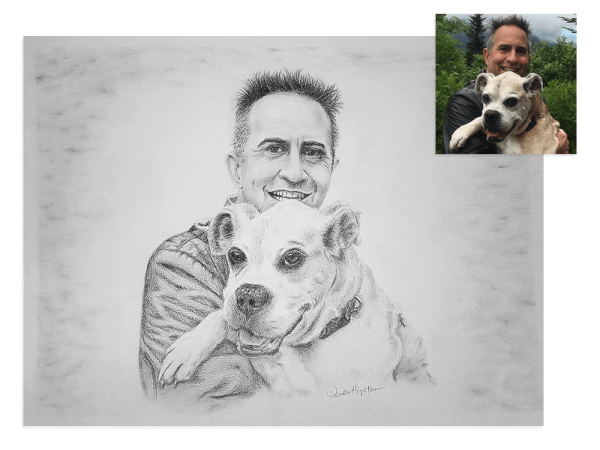Man's best friend pencil portrait