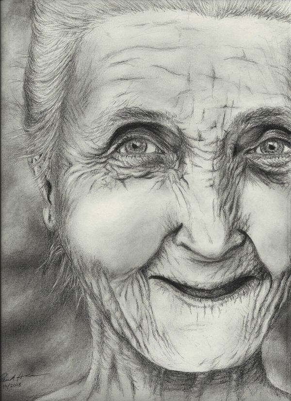 Old lady pencil sketch